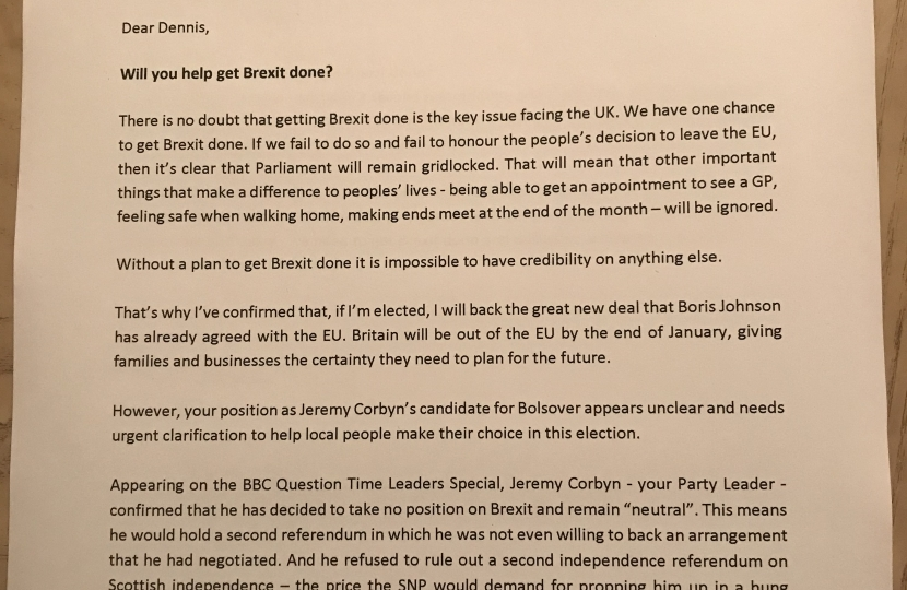 First page of Mark Fletcher's letter to Dennis Skinner