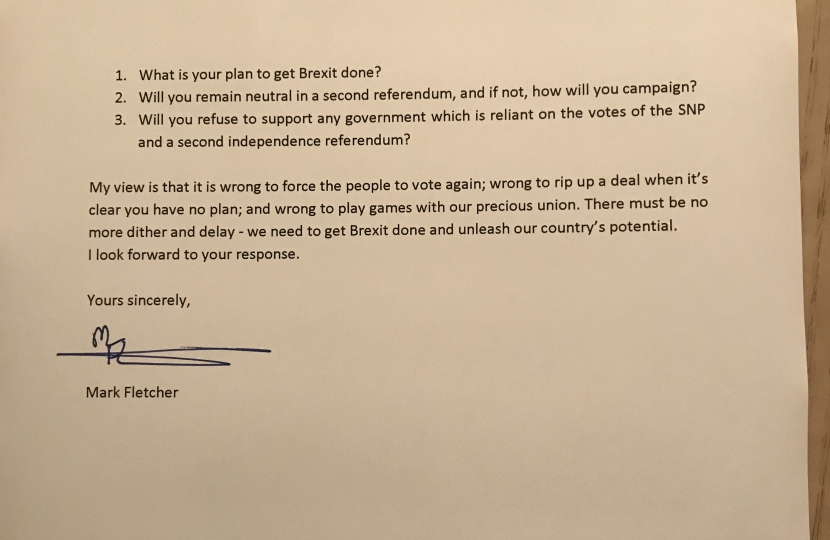 Second page of Mark Fletcher's letter to Dennis Skinner
